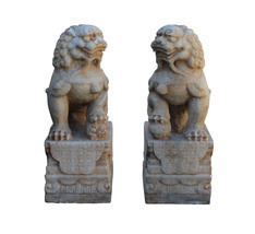 Chinese Pair Off White Marble Stone Fengshui Foo Dogs Statues cs3224 image 1