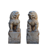 Chinese Pair Off White Marble Stone Fengshui Foo Dogs Statues cs3224 - $3,500.00