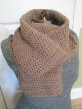 Fashion Scarf Seller Handmade Hand Crochet Light Brown Acrylic 12 x 52 S... - $14.00