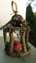 Bird in Circular Cage Christmas Ornament Handmade from Tree Branch Twig ... - $4.75