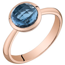 Women's 14k Rose Gold Round London Blue Topaz Solitaire Ring - $399.99