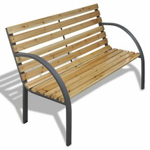 vidaXL Outdoor Garden Bench Wooden Iron Metal Curved Back/Armrests Furni... - $83.99