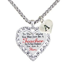 Custom Teacher You are a Hero Heart Silver Necklace Jewelry Choose Initial Gift - $15.19