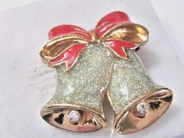 GLITTER AND ENAMEL CHRISTMAS BELLS VINTAGE PIN SIGNED NINA RICCI FOR AVO... - $16.00