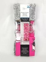 14 Pc. Bath Set Hooks & Shower Curtain Mainstays Cats White Pink Gray Ru... - $28.12