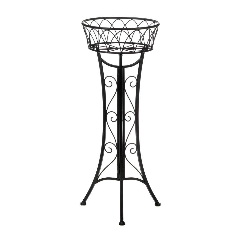 SINGLE BASKET PLANT STAND Curlicue Scrollwork Design Set of 2