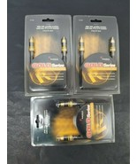 Lot (3) Radio Shack Gold Series 3' (ft) Mono Audio/Video Cable DVD VCR S... - $28.04