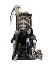 Grim Reaper on Throne with Undead Skeleton Pet Statue by Things2Die4 - €21,94 EUR