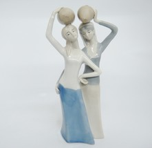 """Vintage Women Carrying Water Jugs Figural Group Muted Shades of Blue 10"""" - $19.79"""