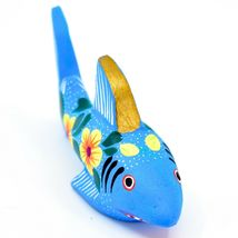 Handmade Alebrijes Oaxacan Painted Wood Folk Art Flower Shark Figurine image 4