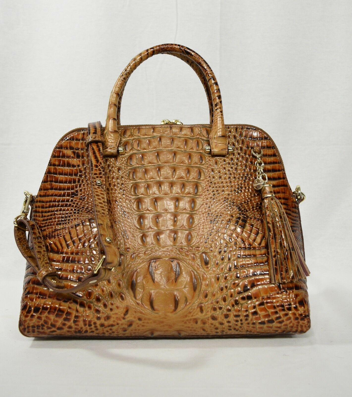 Primary image for NWT Brahmin Sydney Leather Satchel/Shoulder Bag in Toasted Almond Melbourne