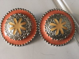 Vintage Silvertone Enamel Pierced Earrings Oversize 20516 Peach Yellow - $23.19