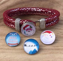 Red Double Rope Bangle Bracelets with 4 Snap Noosa Charms Buttons Christ... - £5.22 GBP