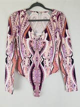 Free People women M Pick A Place bodysuit long sleeve V-neck plunge - $34.65