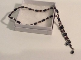 Magnetic Women's Necklace - Purple Silver Black Mixed Metals - $9.77