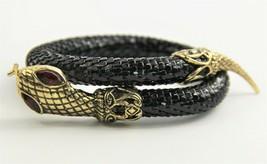 """7.5"""" ESTATE VINTAGE Jewelry BLACK MESH SNAKE BYPASS BRACELET  - $65.00"""