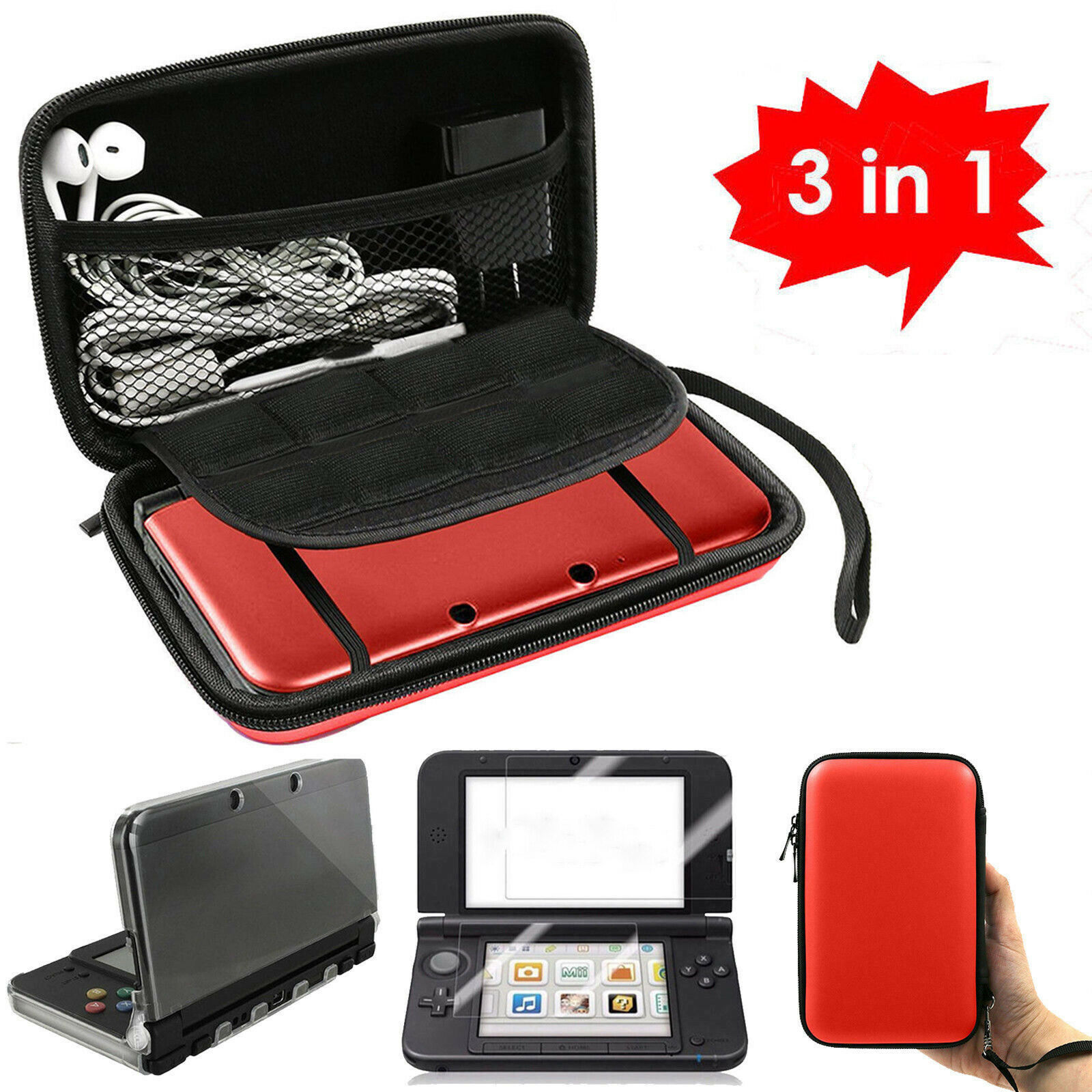 Primary image for 3 in 1 Carrying Bag+Clear Case Cover+Screen Protector for New Nintendo 3DS XL LL
