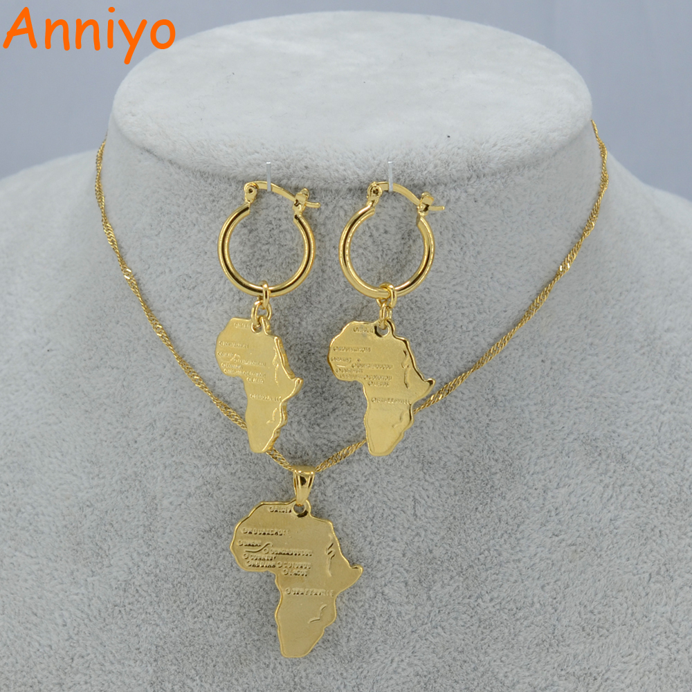 Primary image for African Map Jewelry sets Necklace Earrings for Women Girls Gold Color