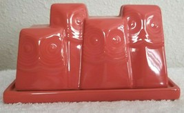 West Elm OWL COVERED BUTTER DISH Coral (Orange) Discontinued SOO CUTE! - $27.95