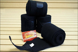 BLACK HILASON WESTERN SHOW TACK HORSE POLO LEG WRAP SET OF 4 U--006 - $31.95