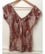 Eyeshadow Brown Animal Print V Neck V Back 100% Cotton Top Size L Large - $9.95
