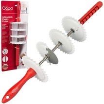 Adjustable Pastry Wheel Cutter w 4 Interchangeable Fluted, Lattice, and ... - €14,96 EUR