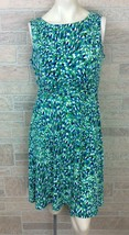 Jessica Howard Blue Green Abstract Print Stomach Ruched Women's Size 12 - $19.79