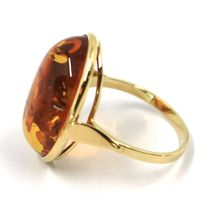 SOLID 18K YELLOW GOLD RING, BIG CABOCHON CENTRAL NATURAL OVAL AMBER 21X16mm image 3
