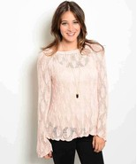 Sweet Lacy Crochet Dusty Pink Cotton Blend Pullover Sweater S, M or L - $22.95