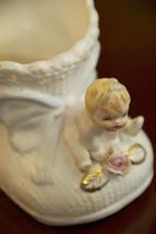 Vase Vintage Baby Shower Figurine Show White Eyelet Bootie Shoe C-6387 Napco - $24.99