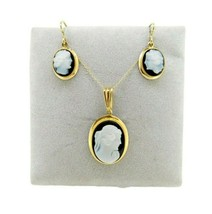 14k Yellow Gold Genuine Natural Agate Cameo Pendant and Earrings Set (#J... - $550.00