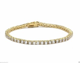 VINTAGE GOLD TONE ROUND LINKS CRYSTALS TENNIS BRACELET 925 STERLING BR 708 - $45.62