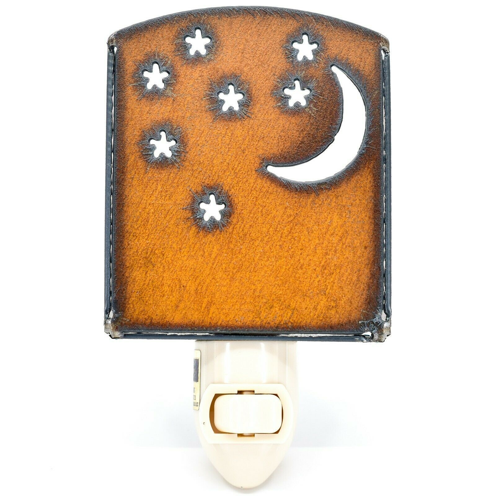 Country Western Rusted Patina Iron Metal Cutout Moon Stars Nightlight Light