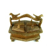 Antique Old Hand Carved Unique Wooden Kitchen Spice Box Asian - $470.25