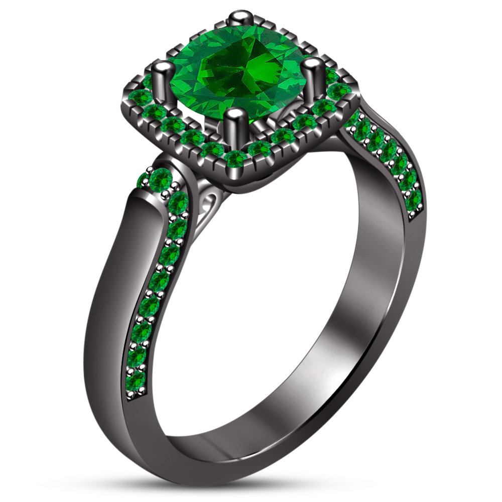 Green Sapphire Black Gold 925 Sterling Silver Bridal Engagement Wedding Ring Set
