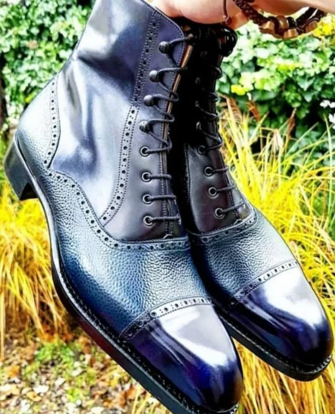 Handmade Men's Blue High Ankle Lace Up Dress/Formal Leather Boots