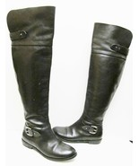 Guess Solar Boots Tall Leather Riding Pirate Over the Knee Buckle Black ... - $59.86