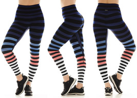 K-Deer Women's Blue/Coral/White Molly Stripe Sneaker Length Leggings, XS-4X