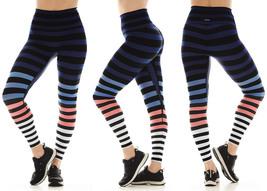 K-Deer Women's Blue/Coral/White Molly Stripe Sneaker Length Leggings, XS-4X