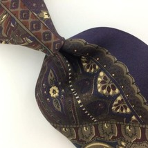 Vintage Bill Blass Us Made Art Deco Brown Silk Black Necktie Excellent Ties I5-8 - $15.83