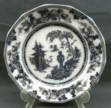 "BLACK & WHITE IRONSTONE ADAMS & SONS Oriental Motif 9 1/2"" deep Plate - $14.00"