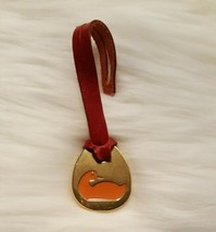 Dooney & Bourke Replacement Red Leather BRASS Orange Duck Fob Purse Charm - $16.99