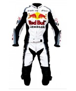 KAWASAKI RED BULL WHITE REAL COWHIDE MOTORCYCLE RACING LEATHER SUIT ALL ... - $239.00
