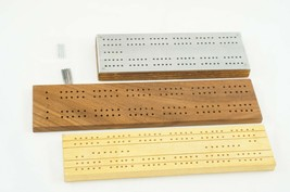 Lot of 3 Vintage Wooden & Metal Cribbage Boards and Pegs Unmarked - $18.87