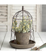 Country CHICKEN WIRE CLOCHE with TERRA COTTA POT and SAUCER Farmhouse Pr... - $63.99