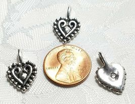 HEART WITH BEADED EDGE FINE PEWTER PENDANT CHARM image 3