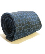 100% Silk ZILLI Black Blue Chain Links Gent's Tie Necktie Made in France - $97.00