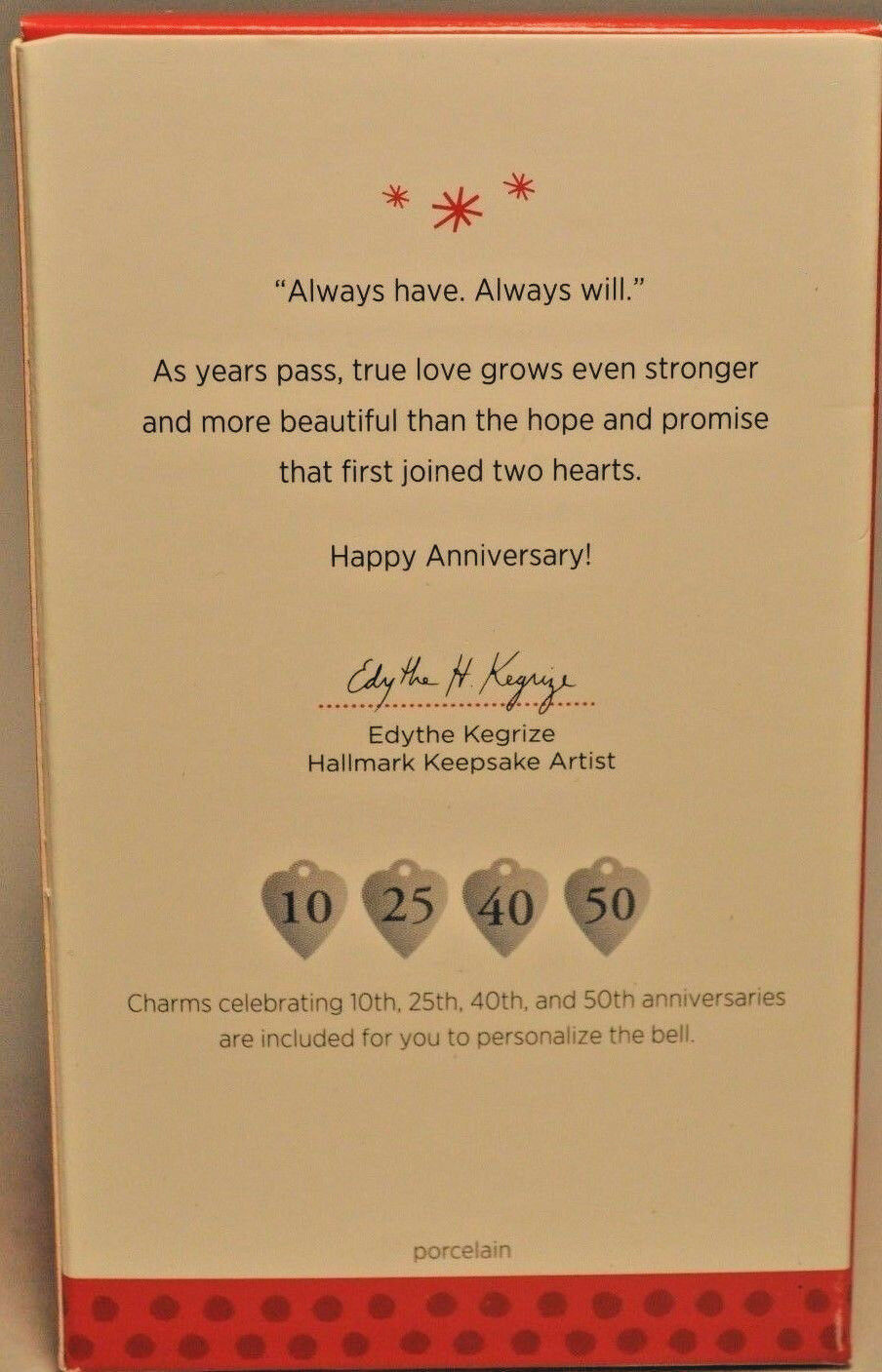 Hallmark - Anniversary Celebration Bell - Milestone Charms - Married in 2013 image 4