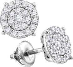 10k White Gold Womens Round Diamond Concentric Circle Cluster Earrings - $179.00