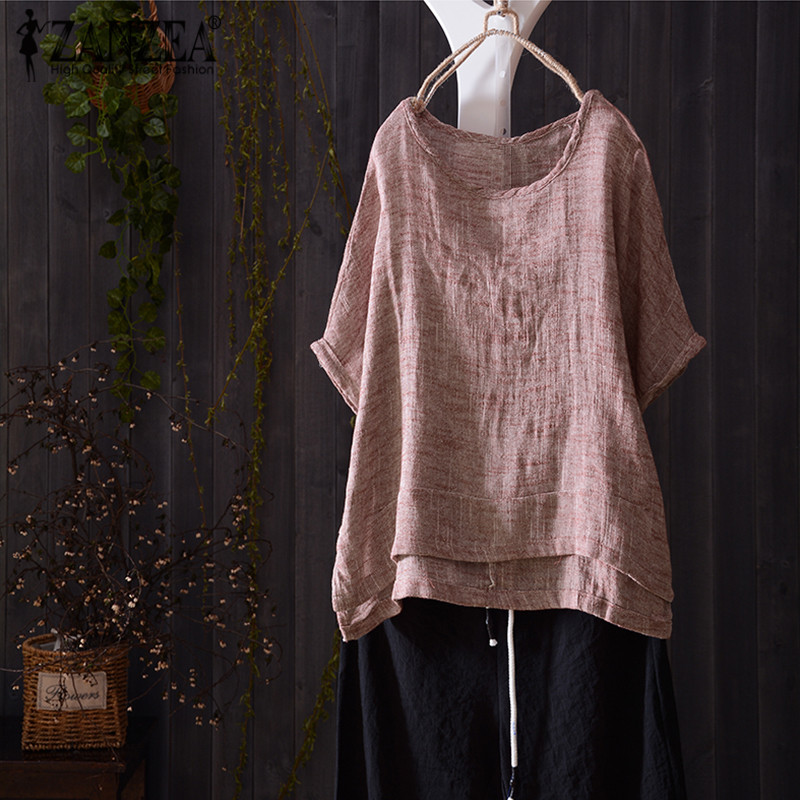Plus Size ZANZEA 2018 Summer Women Blouse Short Batwing Sleeve Casual Shirt Blus